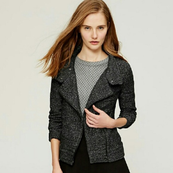 f3717136e6d31 LOFT Jackets   Blazers - LOFT tweed knit moto jacket